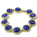 Blue Round Ruby Gold Plated Iced Out Bracelet