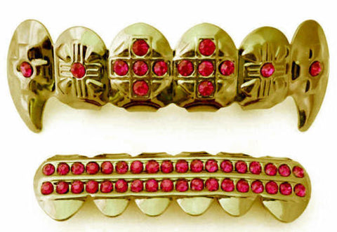 Red Stones Cross Fangs Gold Plated Grillz Set