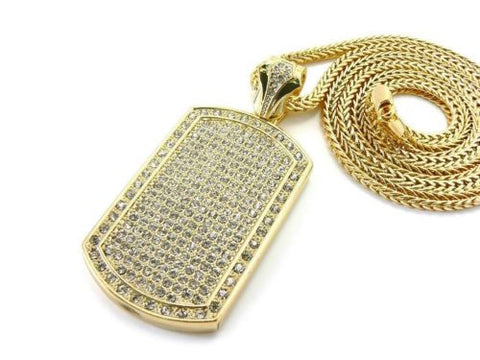 NEW GOLD ICED OUT HIP HOP FULL CZ DOG TAG PENDANT