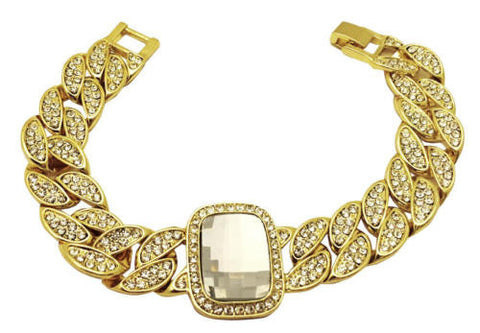 Gold Plated Iced Cuban Link Crystal Stone Bracelet