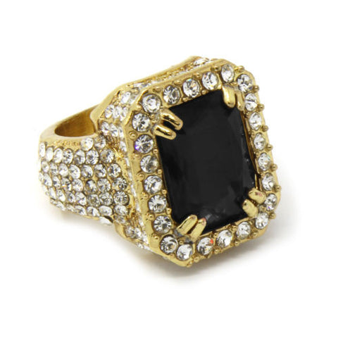 Gold Plated Black Ruby Ring
