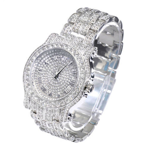 Rapper Fashion Iced Out White Gold Plated Heavy Bezel Case