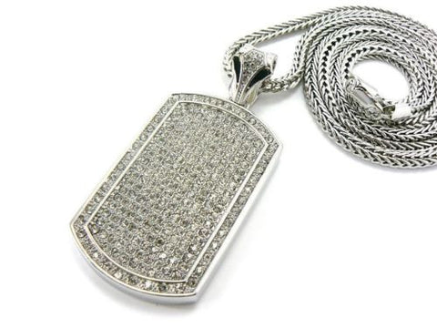 NEW SILVER ICED OUT HIP HOP FULL CZ DOG TAG PENDANT