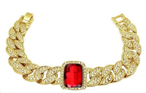 Gold Plated Iced Cuban Link Red Crystal Stone Bracelet