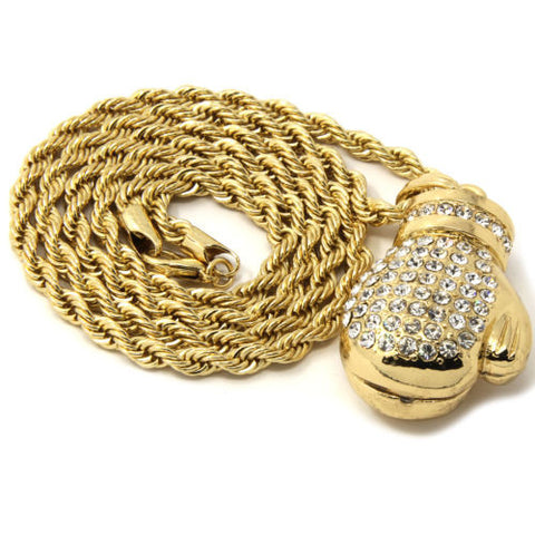 Pendant Gold Iced Out Boxing Gloves 24