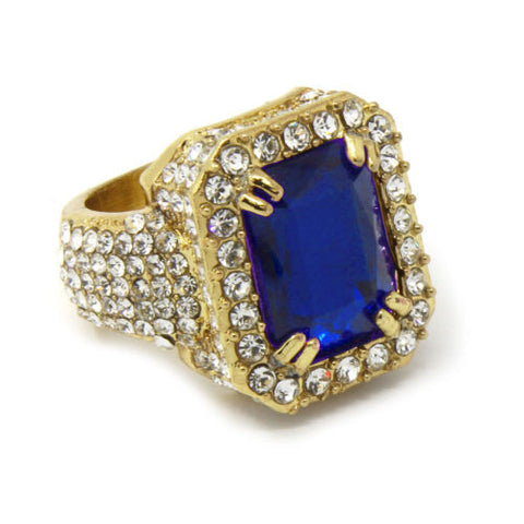 Gold Plated Simulated Blue Ruby Ring
