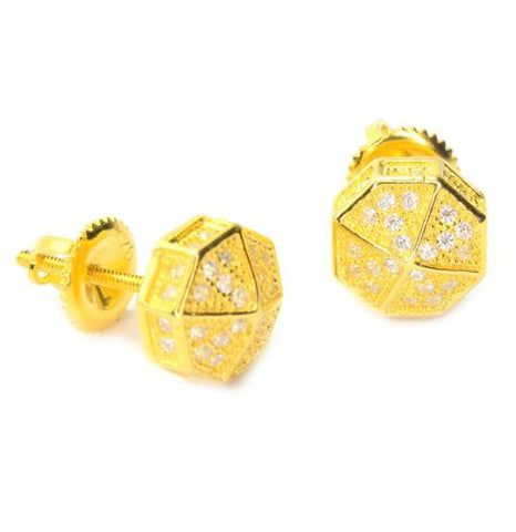 Mini Octagon Gold Plated Earring