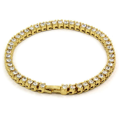 Gold Plated Iced Out1 Row Fully Cz Bracelet