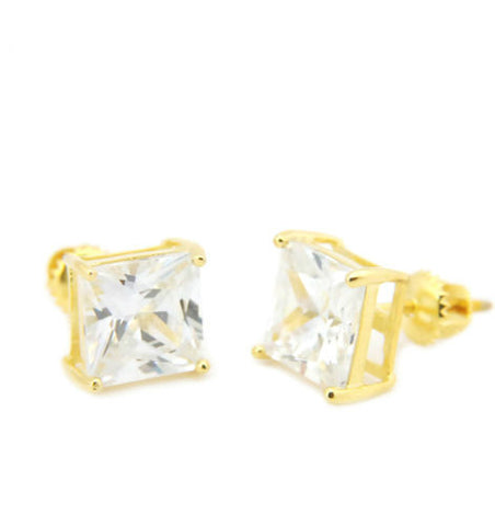 Gold Lab Diamond Princess Cut Earring