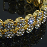 Gold Finish 2 Row Cluster Crystal Iced Out Mens Bracelet
