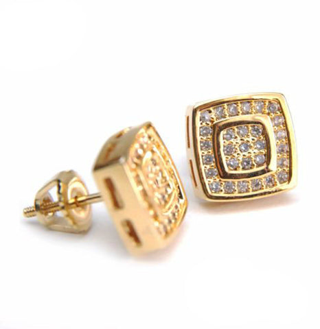 Gold Plated Oval Double Square Earring
