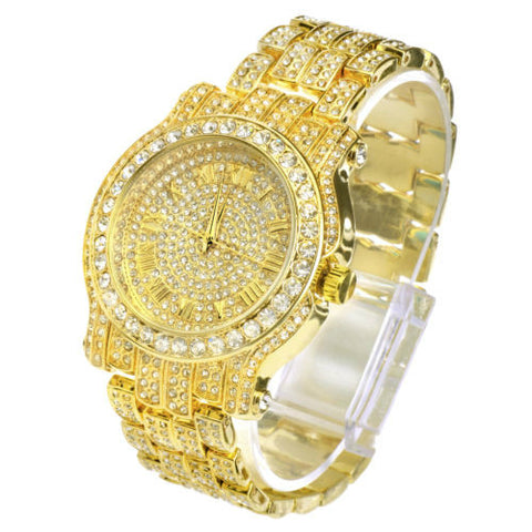 Rapper Fashion Iced Out 14k Gold Plated Heavy Bezel Case