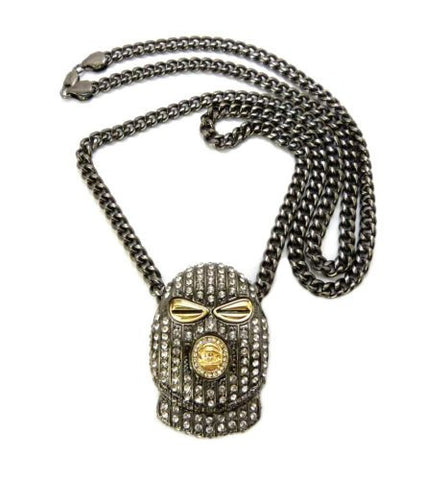 ICED OUT BLACK SKI MASK PENDANT CUBAN CHAIN
