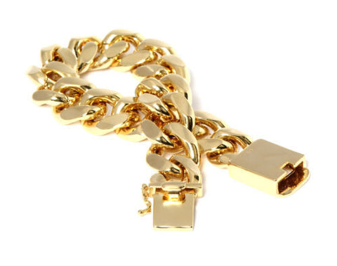 Heavy Thick Cut 14k Gold Plated Bracelet Cuban