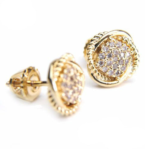 Cross Dome Round Gold Plated Earring