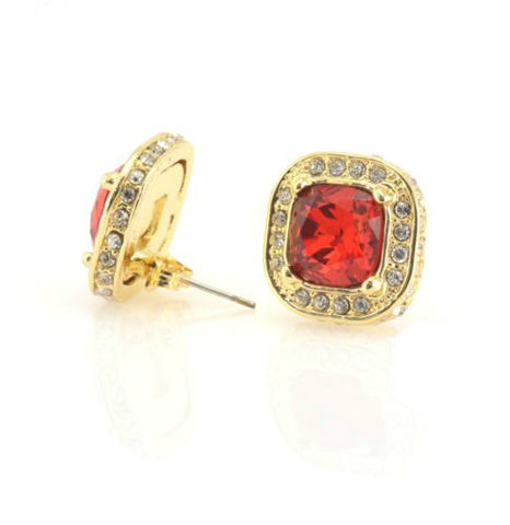 Iced Out CZ Square Red Ruby Gold Plated Earring