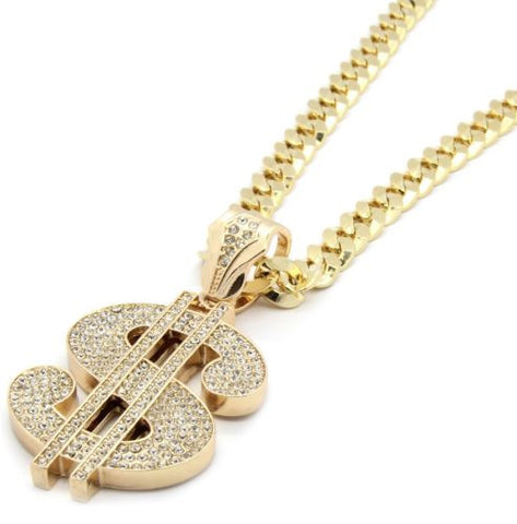 Gold Iced Out Money Sign Pendant Cuban Chain