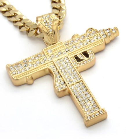 Pendant Gold Iced Out Sub Gun 30 Inch
