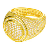 14k Gold Plated Band Double Round Style Pinky Ring