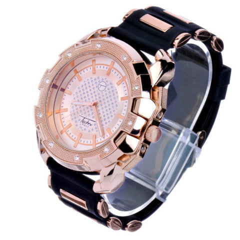 Rapper Gold Plated Silicon Band Techno Pave Men's Watch
