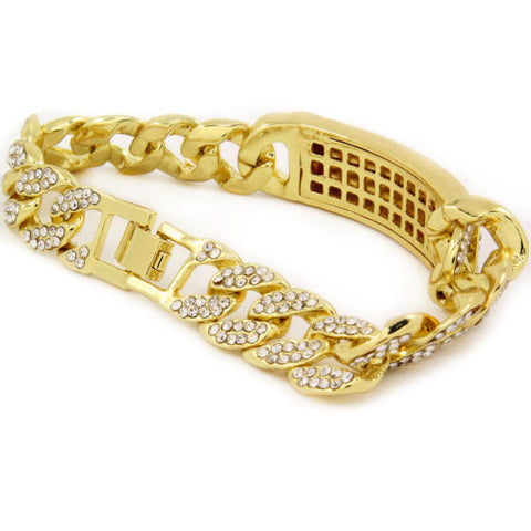 Bracelet Gold PT Fully Cz Iced Out Finish Miami Cuban Style Link