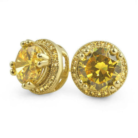 Gold Big Stone Cubic Zirconia Mens Stud Earrings
