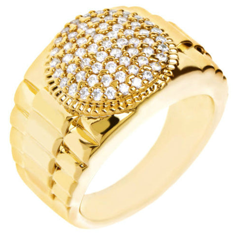 Gold Plated Hand Set CZ Band Round Ring