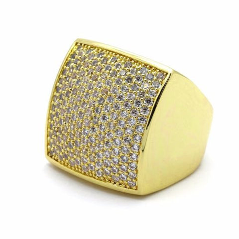 Gold Plated Ring Micro Pave