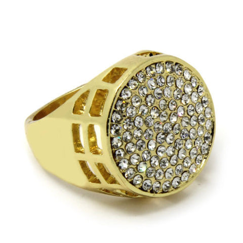 Gold Plated Iced Round Cz Ring