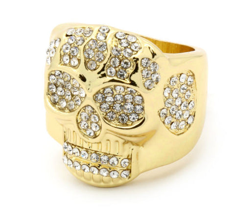 Gold Plated Skull Stylu Ring