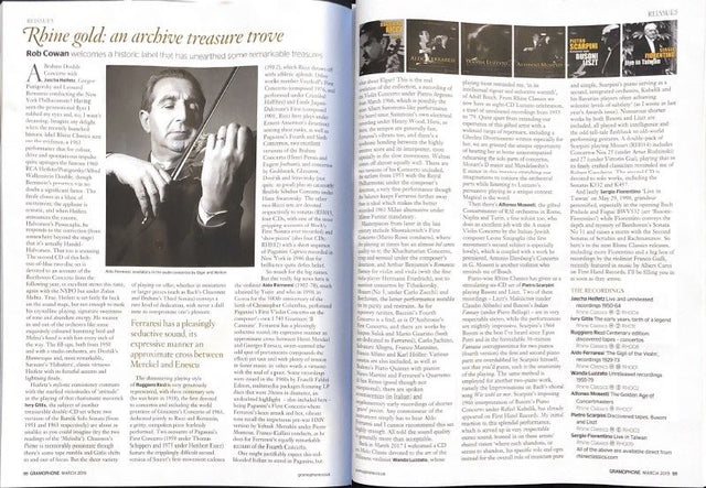 March 2019 | Rob Cowan | Gramophone (pg. 98-99) | Rhine gold: an archive treasure trove