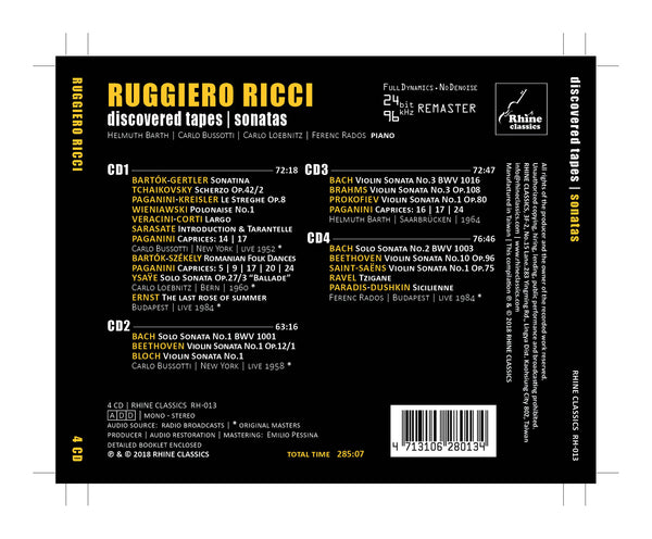 RH-013 | 4CD | Ruggiero Ricci Centenary Edition -3- sonatas