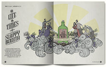 Opening spread from our history of gin featuring illustration by Dan Seex
