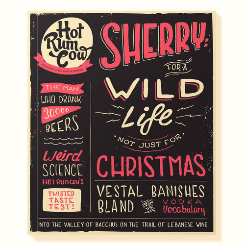 Typographic cover of the Sherry Issue of Hot Rum Cow