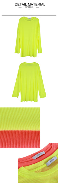 FLUORESCENT COTTON PULLOVER T-SHIRT