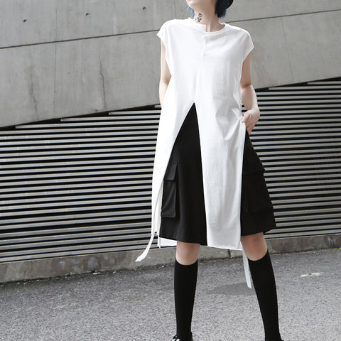 VARIETY COTTON LONG LOOSE SLEEVELESS T-SHIRT