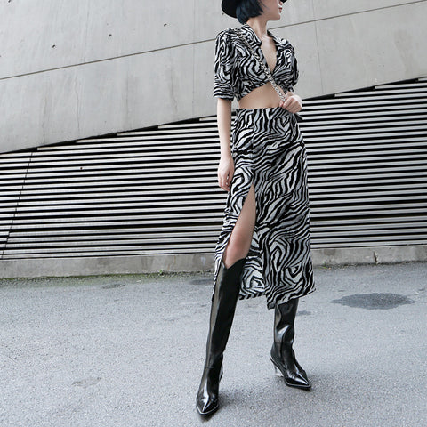 ZEBRA CHIFFON V-NECK SHIRT + SPLIT SKIRT SET