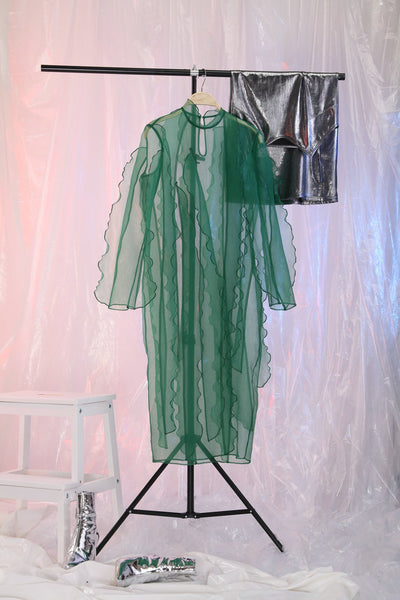 TRANSPARENT ORGANZA DRESS RUFFLED