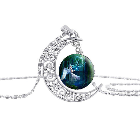Necklace pendant moon pattern silver angel statement