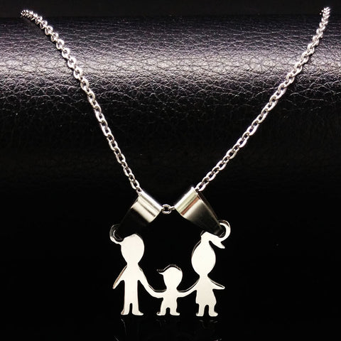 Mama Family Plated Silver Stainless Steel Necklaces