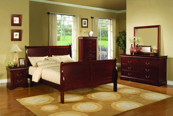 Louis Philippe Sleigh Bed Cherry - Furnlander