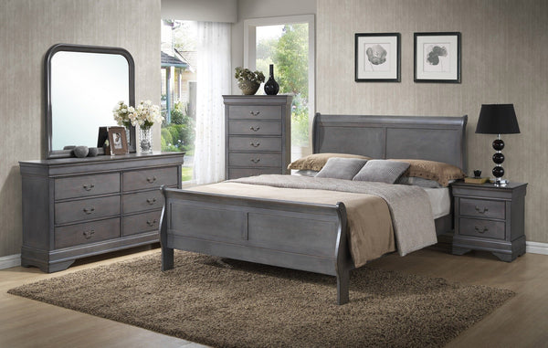 Louis Philippe Sleigh Bed Gray - Furnlander