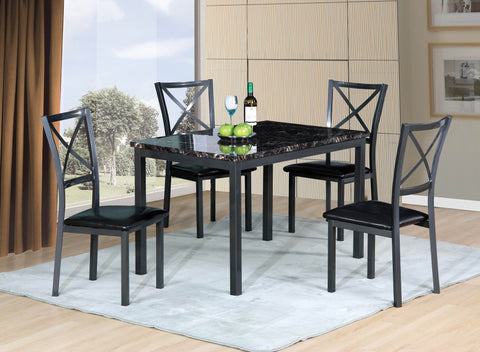 Forest Dining Table Brown Marble Design  5 PCS. SET (1T + 4 CH) - Furnlander