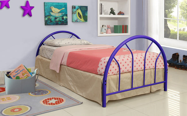 blue metal twin bed hb fb rails