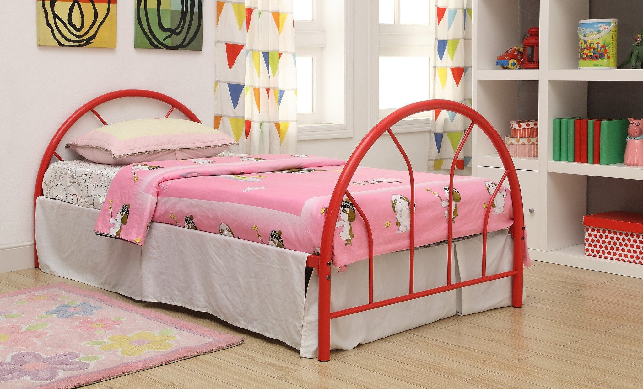 Red Metal Twin Bed Hb Fb Rails Pacific Imports Inc