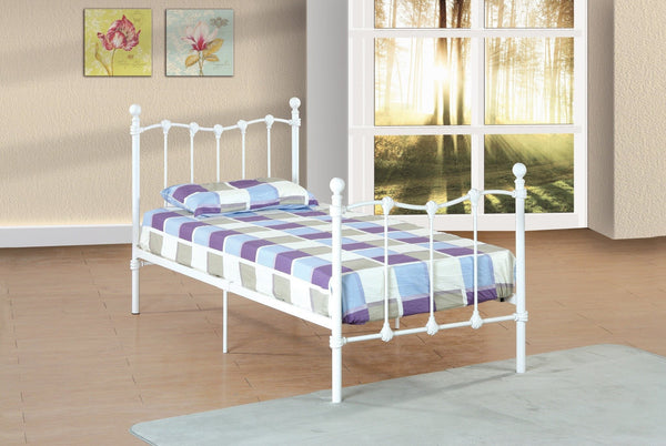 Evansville Twin Metal Bed White - Furnlander