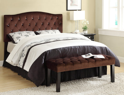 Lawrence Full/Queen Head Board w/Crystals Suede Fabric - Furnlander
