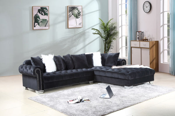 Black Velvet Sectional Sofa Group