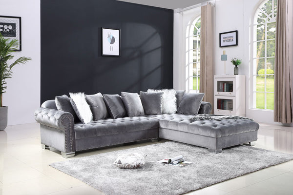 Gray Velvet Sectional Sofa Group