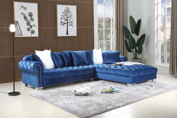 Navy Blue Velvet Sectional Sofa Group
